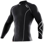 2XU Men's Thermal Compression Long Sleeve Top (Black/Black, Small)