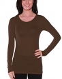 ACTIVE USA, INC. Women's Basic Long Sleeve Crew Neck Tee Small Brown