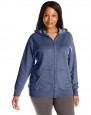 Just My Size Women's Plus-Size Full Zip Fleece Hoodie, Navy Heather, 2XL