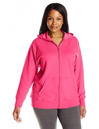 Just My Size Women's Plus-Size Full Zip Fleece Hoodie, Sizzling Pink Heather, 2XL