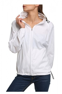 New fashion Waterproof Climbing Running Outdoor Hoodie Coat Sport Cycling Jacket, White, Small