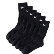Nike Mens Moisture Wicking Crew Socks - 6 Pack/Black
