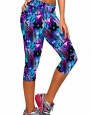 Ancia Womens Tartan Active Workout Capri Leggings Fitted Stretch Tights X-Large Blue
